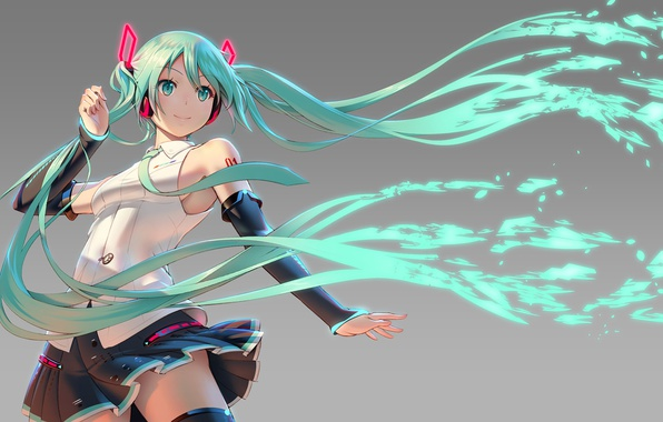Picture tie, gloves, grey background, vocaloid, Hatsune Miku, Vocaloid, blue hair, art, mini skirt, Pinakes
