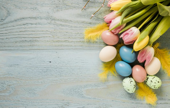Picture flowers, spring, Easter, tulips, pink, wood, pink, flowers, tulips, spring, Easter, eggs, decoration, Happy, tender, …