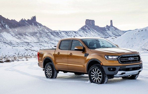 Picture the sky, snow, mountains, vegetation, Ford, pickup, Ranger