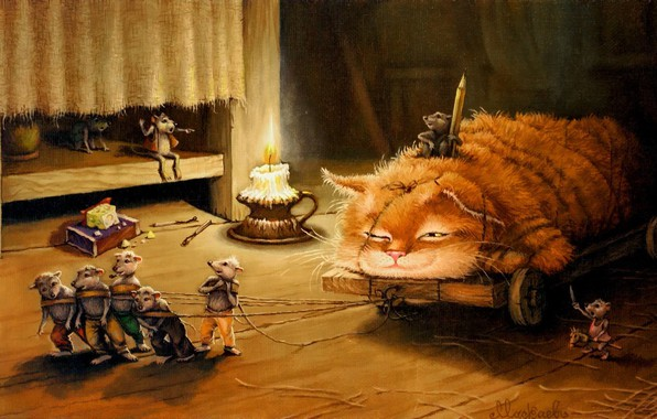 Picture cat, figure, tale, art, children's, Tales of the cat Kuzma, Alexander Maskaev