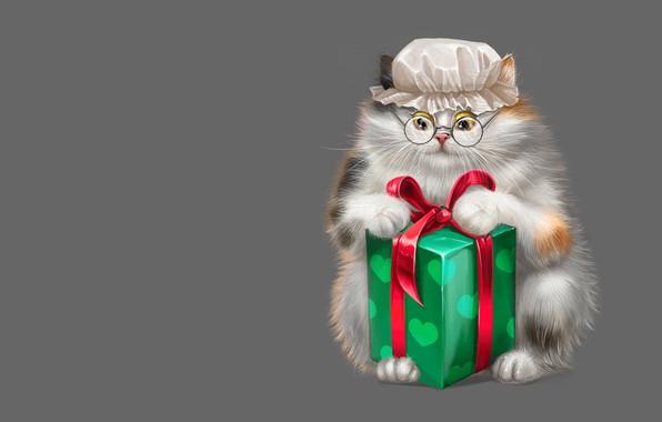 Picture cat, box, gift, art, glasses, Game, children's, Kapor, cap, Alesya Lukyanenko