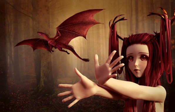 Picture forest, eyes, look, girl, trees, flight, red, face, fog, rendering, fantasy, fiction, trunks, hair, dragon, …