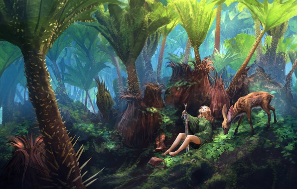 Picture girl, sword, fantasy, forest, legs, flowers, leaves, animal, painting, blonde, artwork, warrior, fantasy art, deer, …