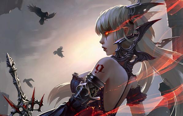 Picture girl, sword, fantasy, armor, weapon, Warrior, birds, tattoo, digital art, artwork, fantasy art, crows, fantasy ...
