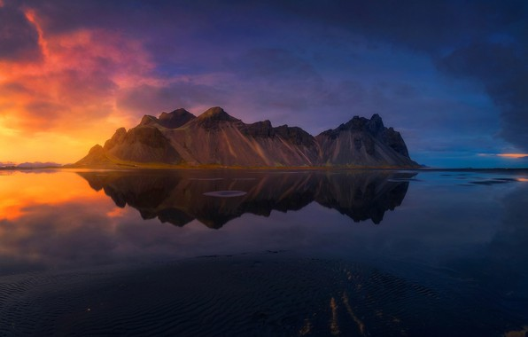 Picture clouds, light, mountains, reflection, Iceland
