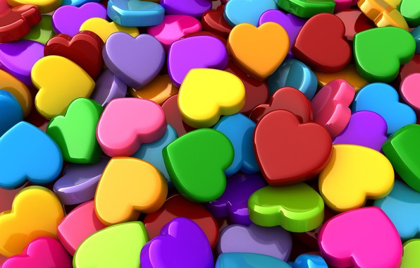 Picture hearts, colorful