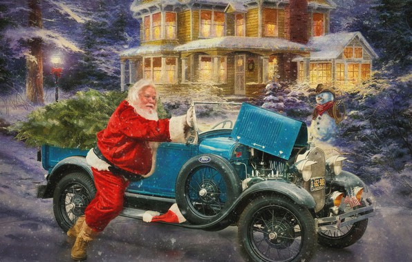 Picture winter, snow, lights, house, retro, holiday, the evening, snowman, car, Santa Claus, classic