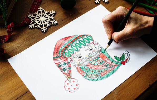 Picture figure, new year, pencil, Santa Claus, snowflake, ribbon, new Year, pencil, Santa Claus, snowflake, ribbon, …