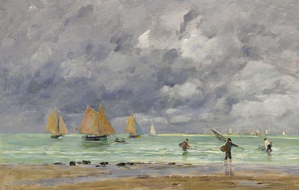 Photo wallpaper sea, picture, Eugene Boudin, Eugene Boudin, Fishers and Boats Near Trouville, sail, clouds