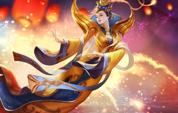 Picture girl, dress, art, hon, Heroes of Newerth, moba, Artesia, Yuanri