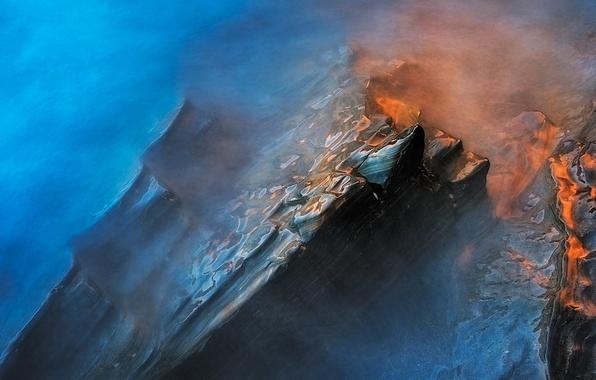 Picture water, light, stones, excerpt, haze, wet rocks