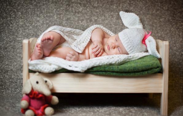 Picture toy, sleep, blanket, child, cap, baby, elephant, cot