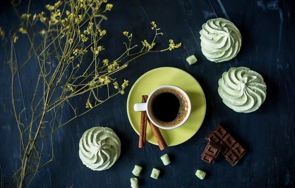 Picture coffee, chocolate, cinnamon, marshmallows