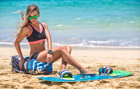 Picture sand, sea, beach, girl, the sun, figure, glasses, hairstyle, surfing, shorts, Board, topic, bag, beautiful, …
