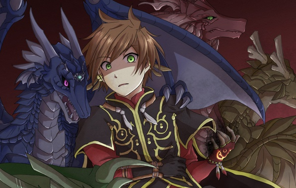 Wallpaper game anime wings boy dragon asian warrior - Anime boy dragon ...