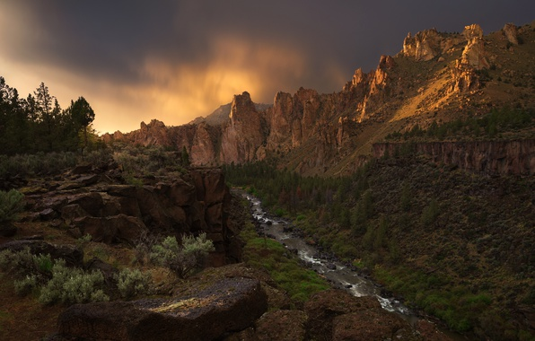Picture river, Oregon, canyon, USA, The Canyon, river Crooked, national Park, Smith Rock