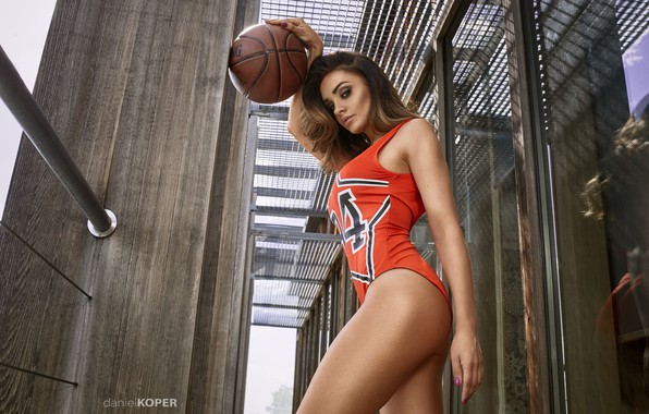 Picture ass, chest, look, glass, girl, face, pose, the ball, brunette, girl, sports, sexy, hip, beautiful …