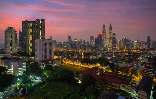 Wallpaper sunset kuala lumpur the evening lights trees for Wallpaper home malaysia