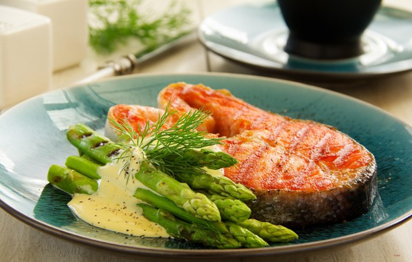Photo wallpaper salmon, asparagus, sauce