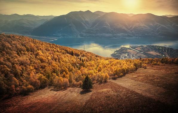 Picture autumn, forest, sunset, mountains, lake, Switzerland, Alps, panorama, Switzerland, Alps, Lake Maggiore, Ticino, lake Maggiore, …