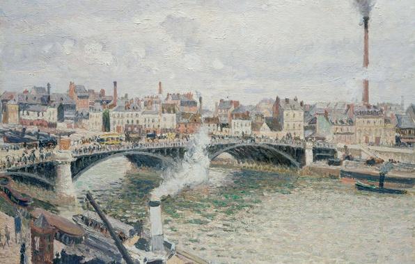 Picture bridge, river, home, picture, the urban landscape, Camille Pissarro, Morning. Cloudy Day. Rouen