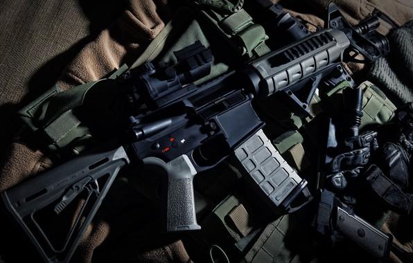 Picture weapons, blur, bokeh, wallpaper., Beretta M9, automatic carbine, ammunition, the camouflage equipment, pistol tactical flashlight, …