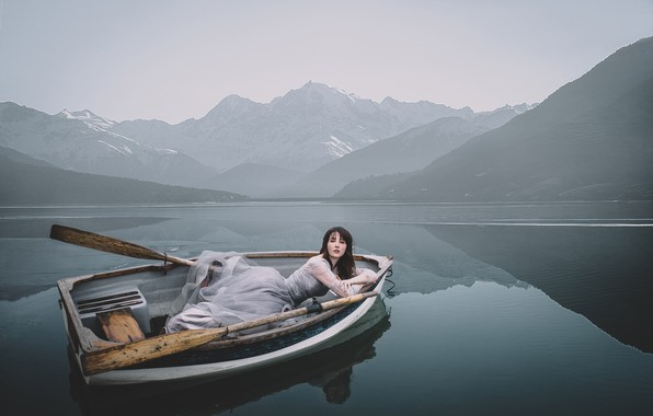 Picture girl, mountains, pose, lake, boat, the situation, dress, paddles