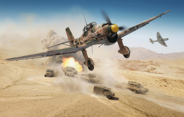 Picture Germany, Tanks, painting, Dive bomber, Air force, cars, North Africa, Dive bomber, Ju.87R-2