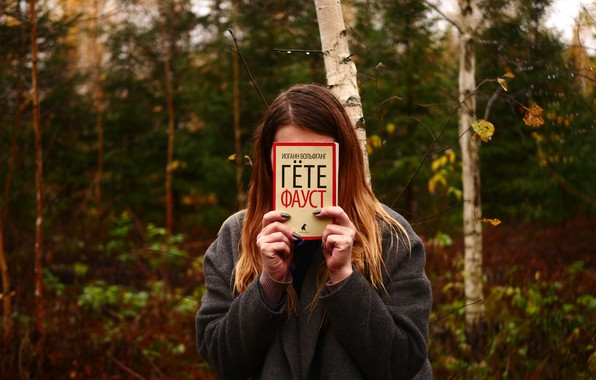 Picture forest, girl, nature, overcast, book, Faust