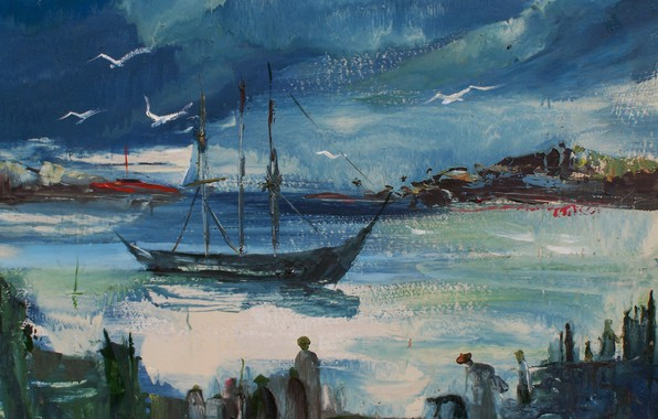 Picture birds, people, boat, The landscape of the Crimea, Victor Stepakov