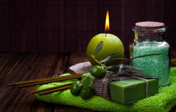 Picture soap, olives, cosmetics, sea salt