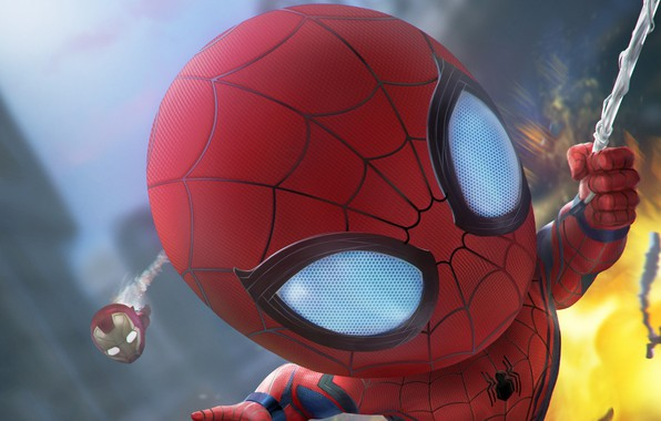 Picture Web, The explosion, Heroes, Costume, Mask, Heroes, Superheroes, Iron man, Web, Iron Man, Marvel, Spider-man, …