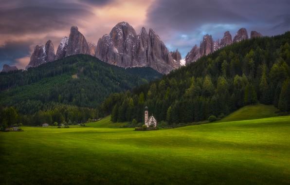 Photo wallpaper Church, forest, mountains, Alps, meadows