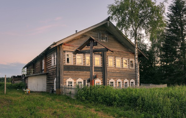 Picture summer, the evening, village, Arkhangelsk oblast, Pechysche