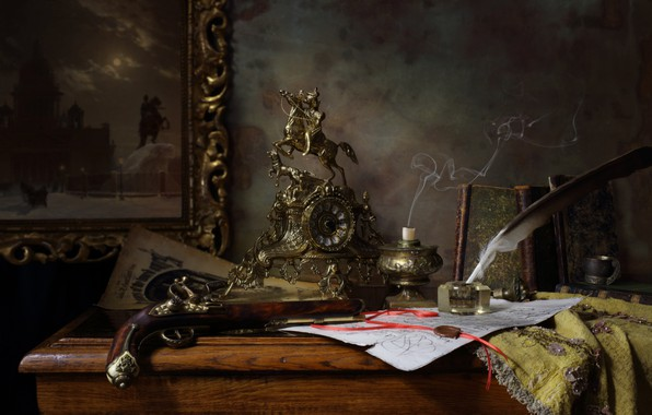 Picture gun, pen, watch, books, candle, rider, ink