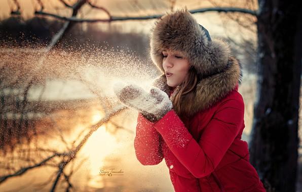 Picture girl, snow, mood, hat, mittens, Sergei Timashev