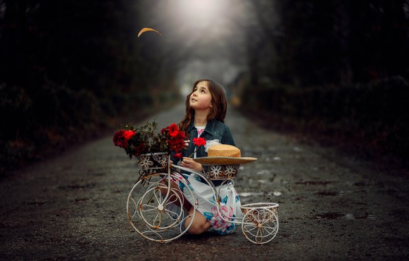 Picture road, flowers, bike, child, girl, girl, road, bike, flowers, child