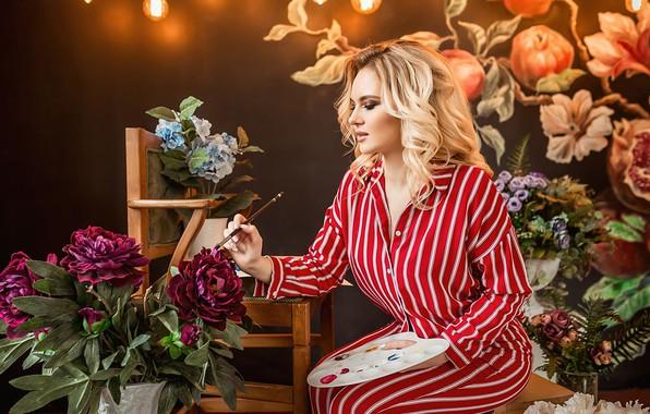 Picture girl, flowers, mood, palette, brush, artist, A Diakov George