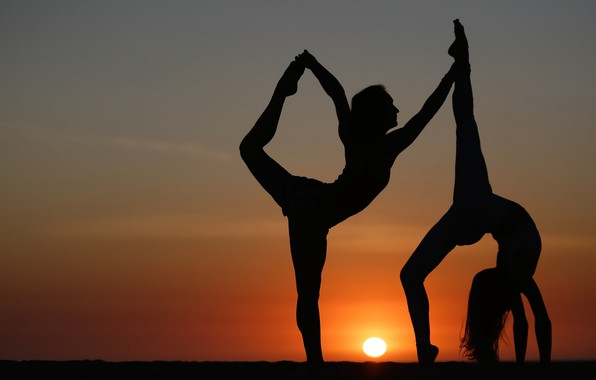 Picture girls, flexibility, silhouette, yoga, legs