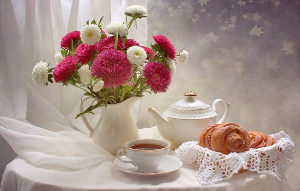 Wallpaper Flowers Table Tea Cup Vase Still Life Muffin