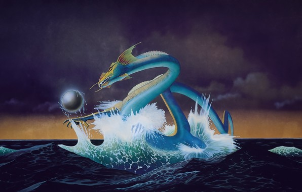 Picture sea, wave, the sky, night, clouds, fiction, dragon, picture, sea snakes