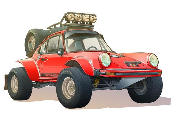 Photo wallpaper Figure, Dakar, Porsche 930