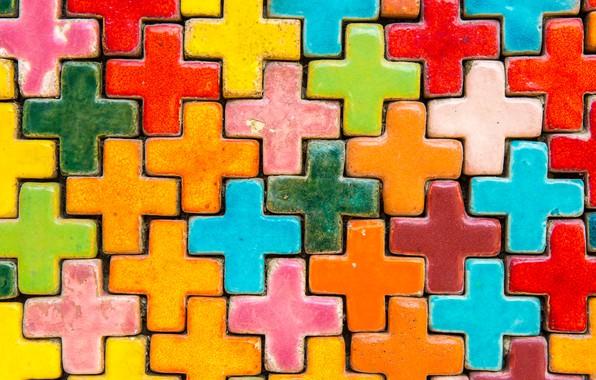 Picture background, tile, cross, colorful, rainbow, color, texture, bright, tiles, ceramic, ceramics