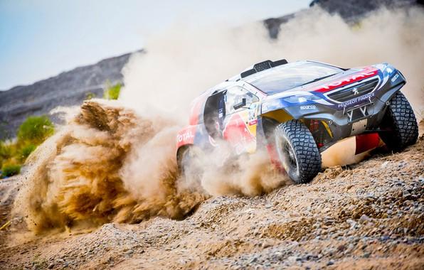 Picture Sand, 2008, Sport, Speed, Race, Skid, Dirt, Peugeot, Lights, Red Bull, Rally, Dakar, Dakar, Rally, …