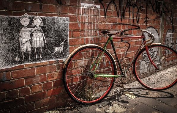 Picture bike, the city, wall, street