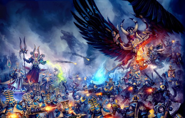 Picture demon, Space Wolves, chaos, space marines, Warhammer 40 000, Magnus the Red, primarch, Thousand Sons