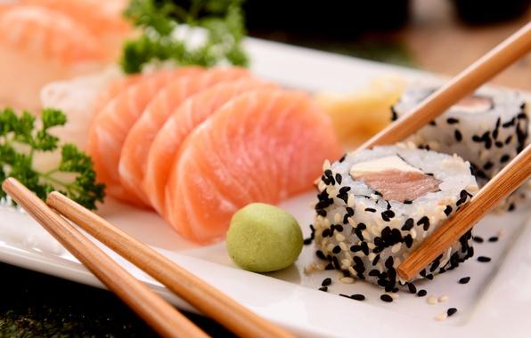 Picture fish, sticks, rolls, sushi, sushi, sesame, fish, rolls, seafood, serving, Japanese, seafood