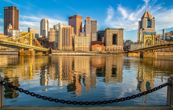 Picture river, building, chain, bridges, PA, promenade, Pennsylvania, Pittsburgh, Pittsburgh, the river Monongahela,, Monongahela River