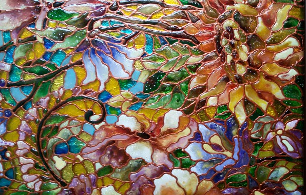 Picture abstraction, texture, colors, reflections of light, casting, floral pattern, stained glass, sparkle glass