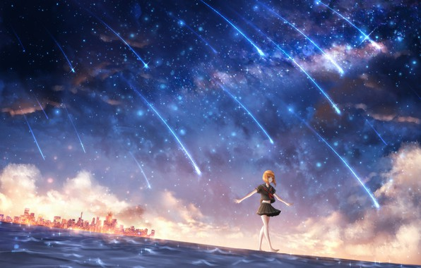 Picture water, girl, space, the city, schoolgirl, OR